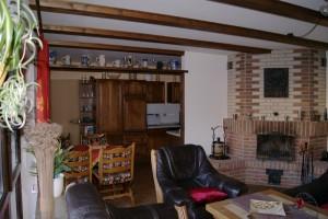 """Ferienwohnung """"HOLLiday"""" – Wohnzimmer mit Kamin und Blick in die Küche"""